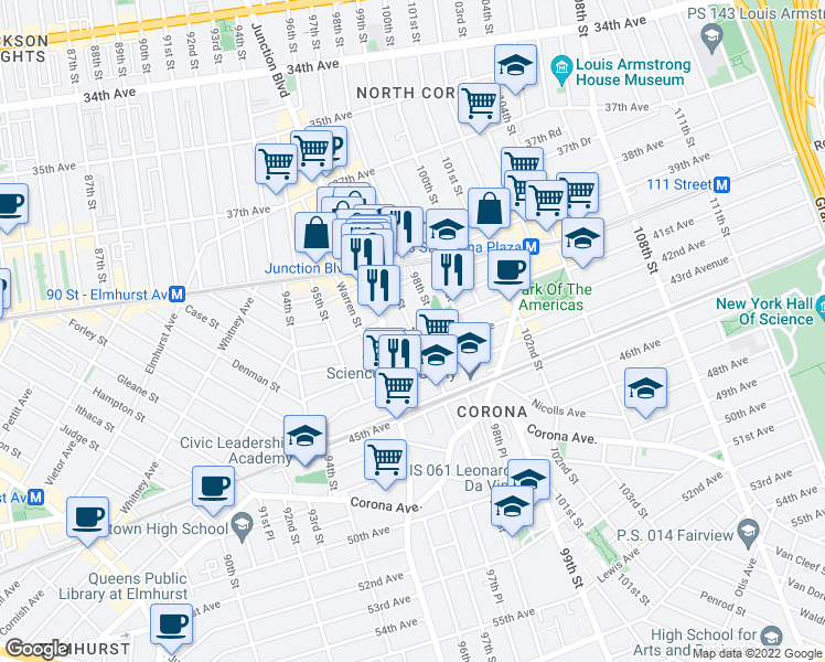 map of restaurants, bars, coffee shops, grocery stores, and more near 97th Street in Queens
