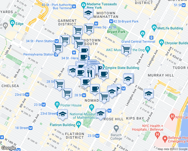 map of restaurants, bars, coffee shops, grocery stores, and more near 23-25 West 32nd Street in New York