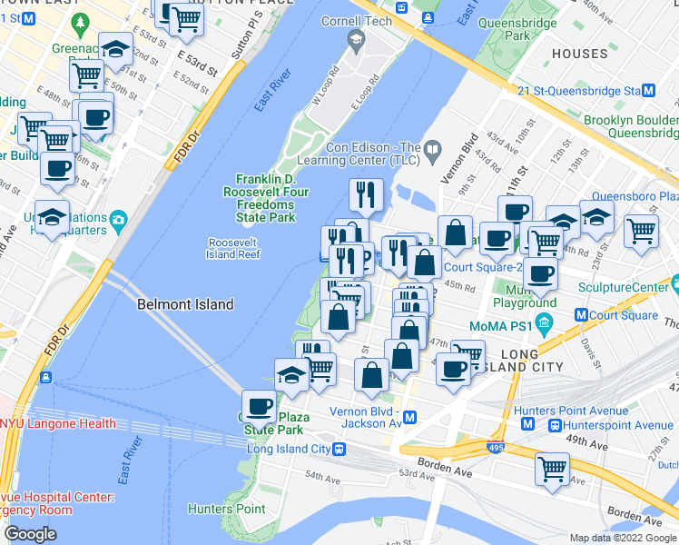 map of restaurants, bars, coffee shops, grocery stores, and more near 4540 Center Boulevard in Queens