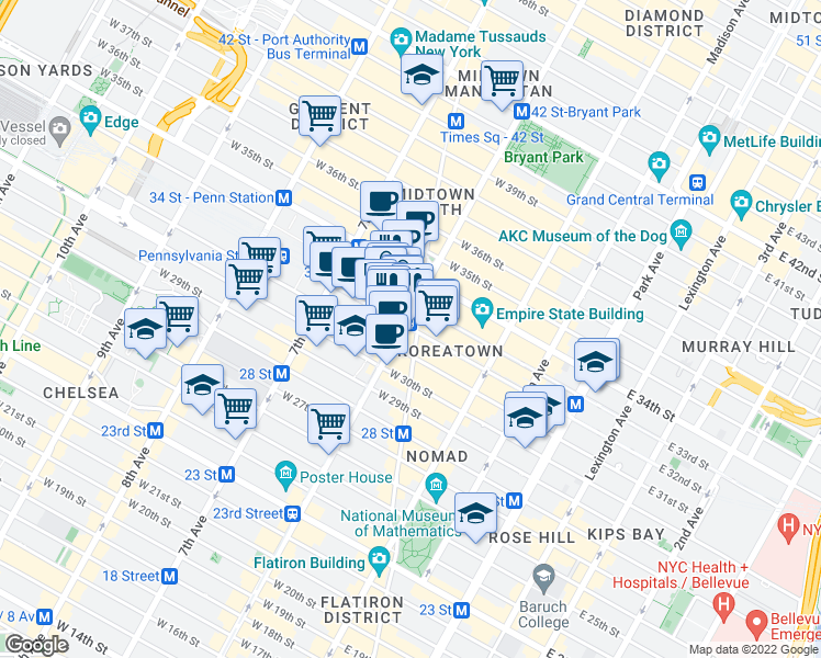 map of restaurants, bars, coffee shops, grocery stores, and more near West 32nd Street in New York