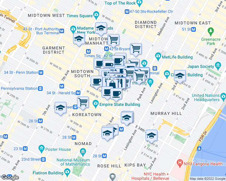 map of restaurants, bars, coffee shops, grocery stores, and more near W 37th St & E 37th St in New York