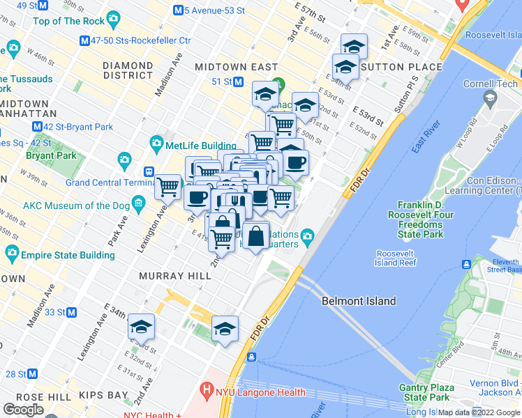 map of restaurants, bars, coffee shops, grocery stores, and more near 313 East 43rd Street in New York