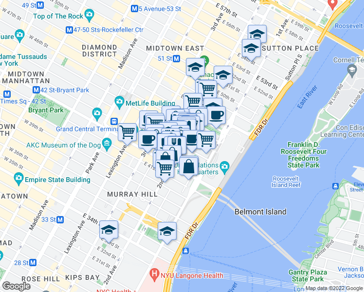 map of restaurants, bars, coffee shops, grocery stores, and more near 303 East 43rd Street in New York