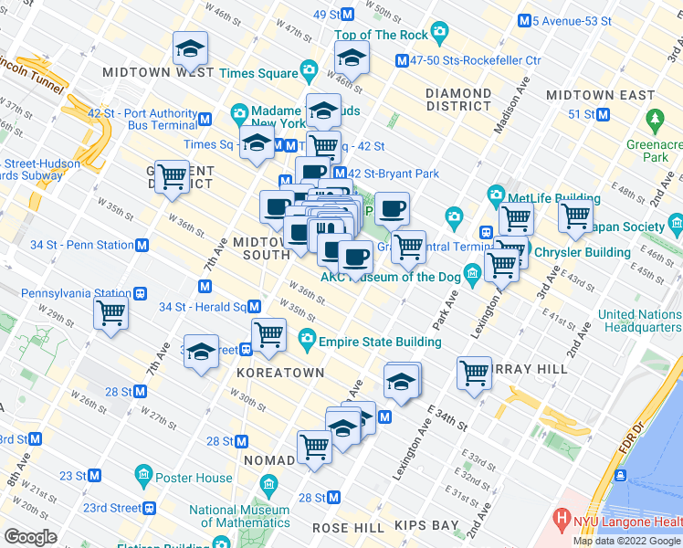 map of restaurants, bars, coffee shops, grocery stores, and more near 39 West 38th Street in New York
