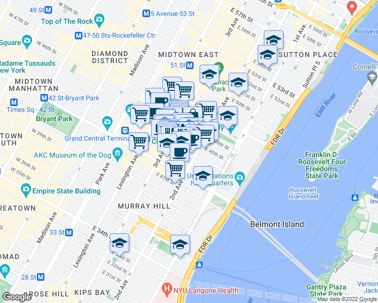 map of restaurants, bars, coffee shops, grocery stores, and more near 237 East 44th Street in New York