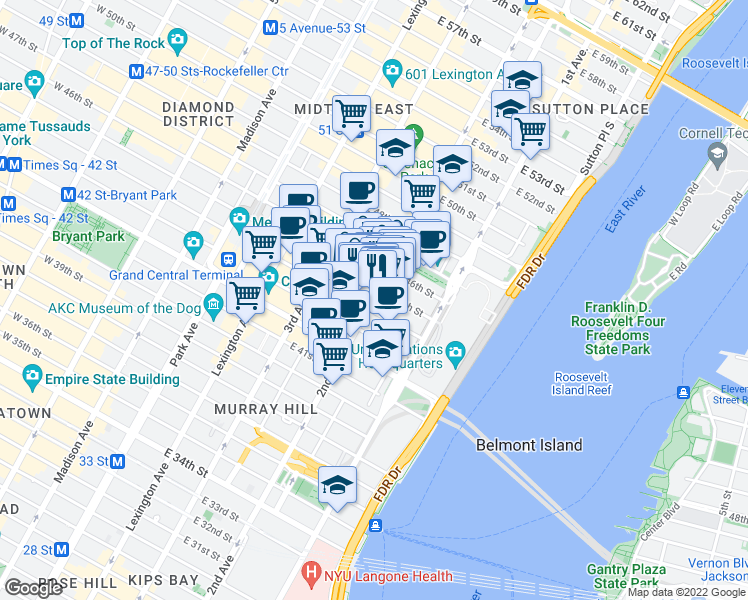 map of restaurants, bars, coffee shops, grocery stores, and more near 843 2nd Avenue in New York