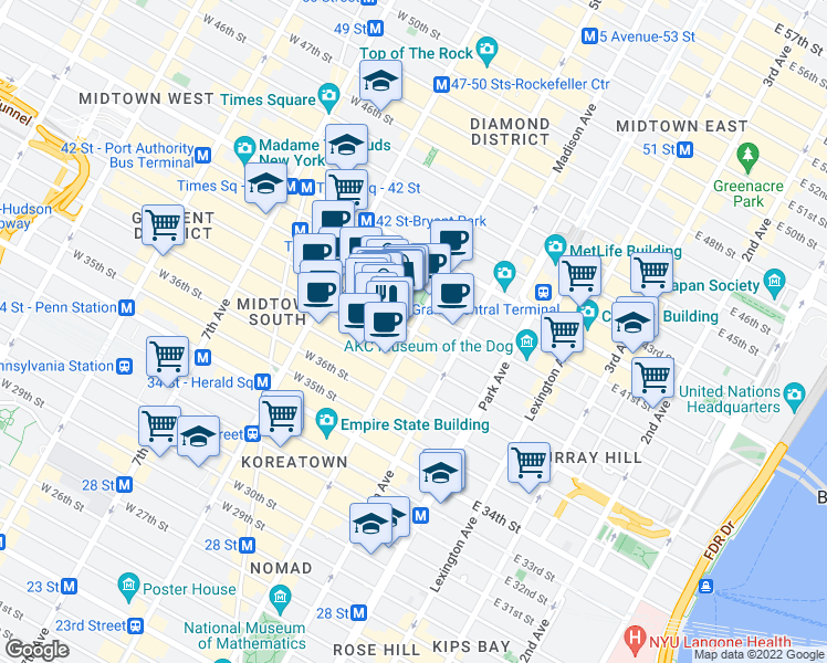 map of restaurants, bars, coffee shops, grocery stores, and more near 1 West 39th Street in New York