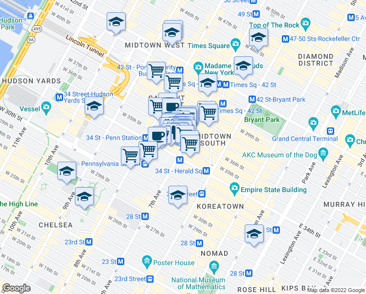 map of restaurants, bars, coffee shops, grocery stores, and more near 201 West 35th Street in New York