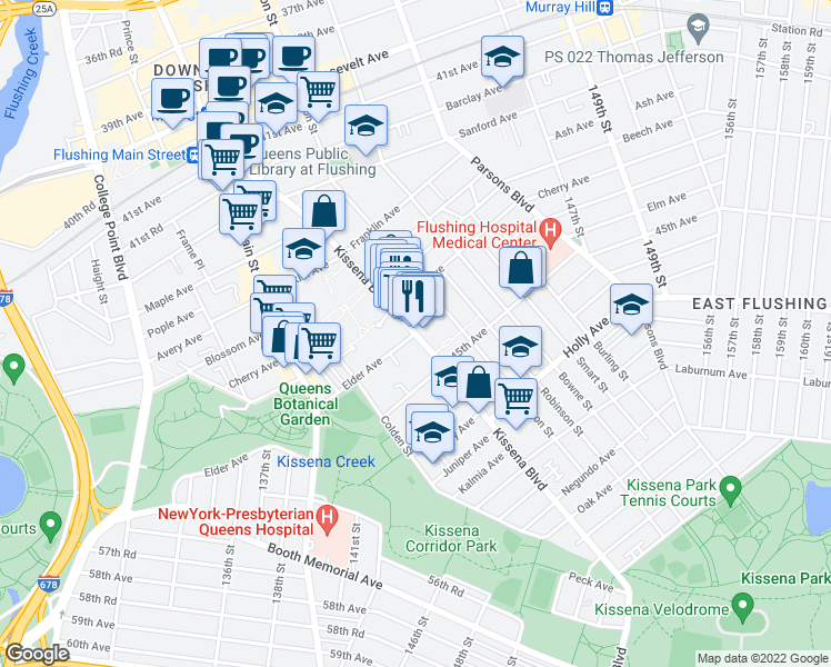 map of restaurants, bars, coffee shops, grocery stores, and more near Kissena Blvd & Elder Ave in Queens