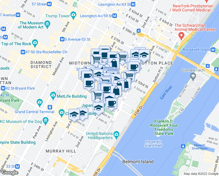 map of restaurants, bars, coffee shops, grocery stores, and more near 933 2nd Avenue in New York