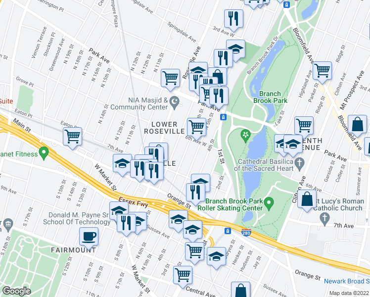 map of restaurants, bars, coffee shops, grocery stores, and more near 220 North 6th Street in Newark
