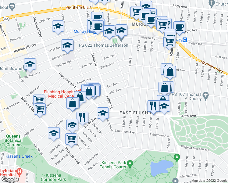 map of restaurants, bars, coffee shops, grocery stores, and more near 45th Avenue in Queens