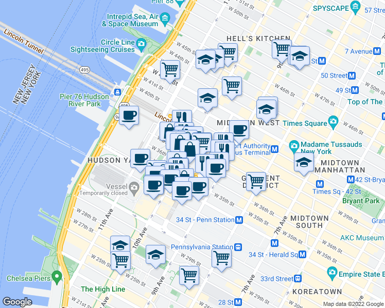 map of restaurants, bars, coffee shops, grocery stores, and more near None in New York