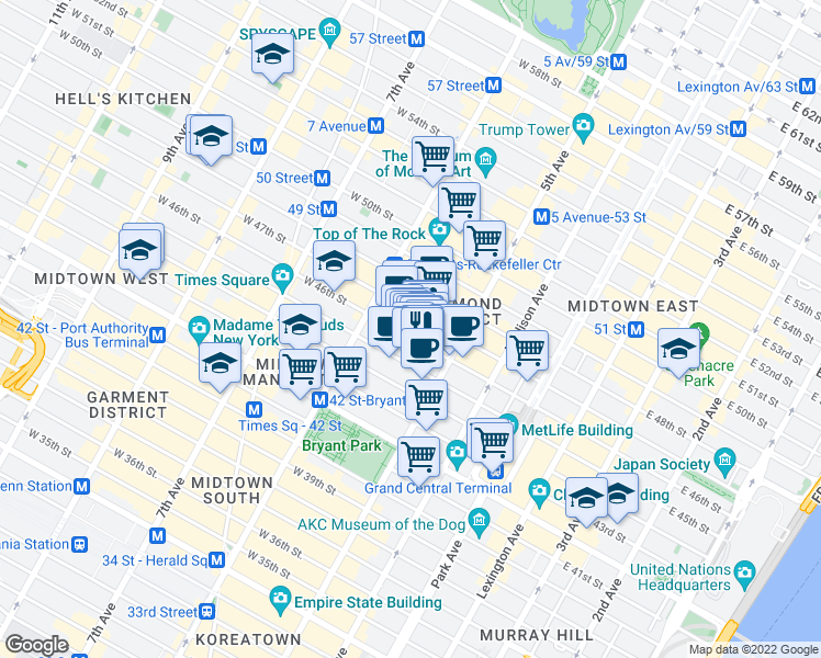 map of restaurants, bars, coffee shops, grocery stores, and more near 24 West 45th Street in New York