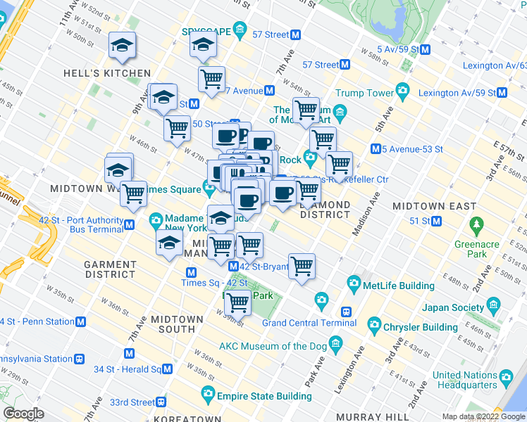 map of restaurants, bars, coffee shops, grocery stores, and more near 6th Avenue & West 46th Street in New York