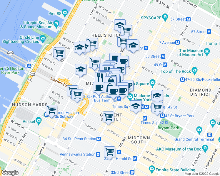 map of restaurants, bars, coffee shops, grocery stores, and more near 340 West 42nd Street in New York