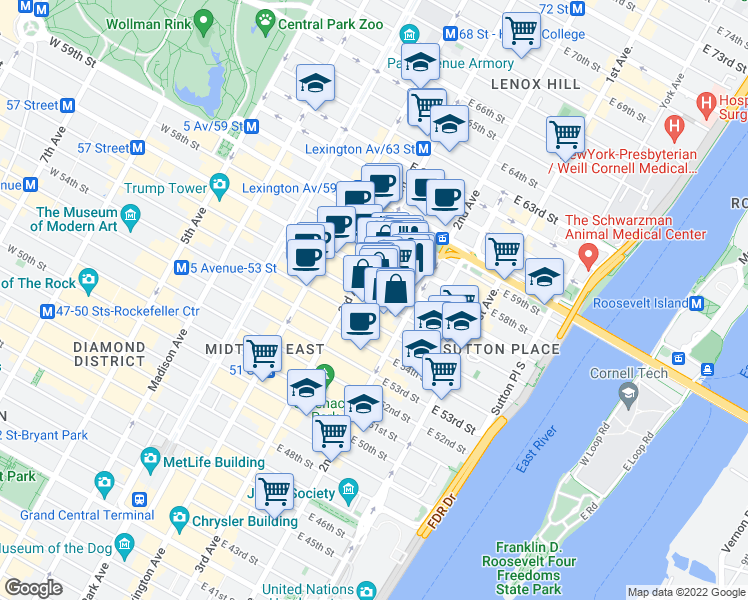 map of restaurants, bars, coffee shops, grocery stores, and more near 211 East 56th Street in New York