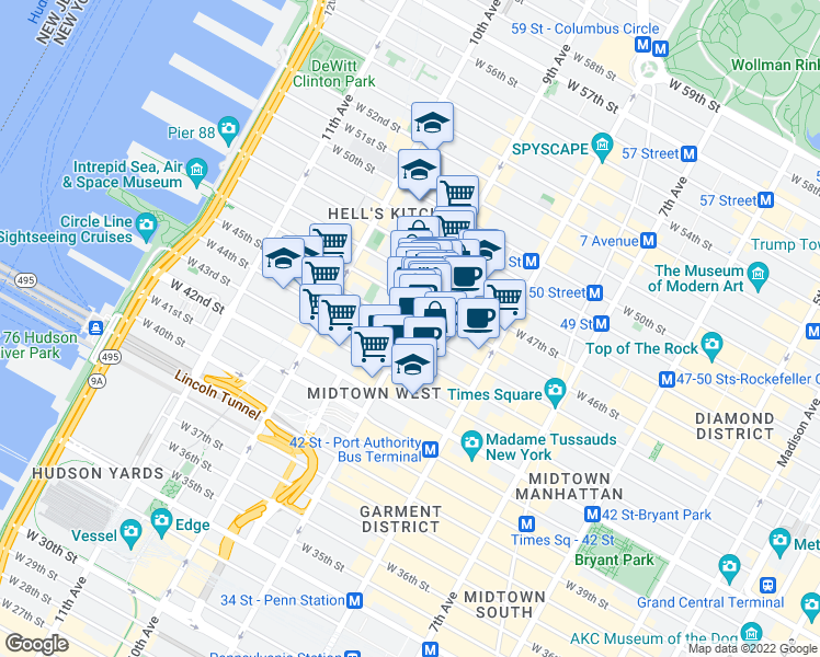 map of restaurants, bars, coffee shops, grocery stores, and more near 662 9th Avenue in New York