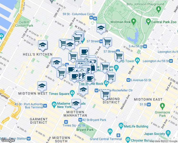 map of restaurants, bars, coffee shops, grocery stores, and more near 152 West 51st Street in New York