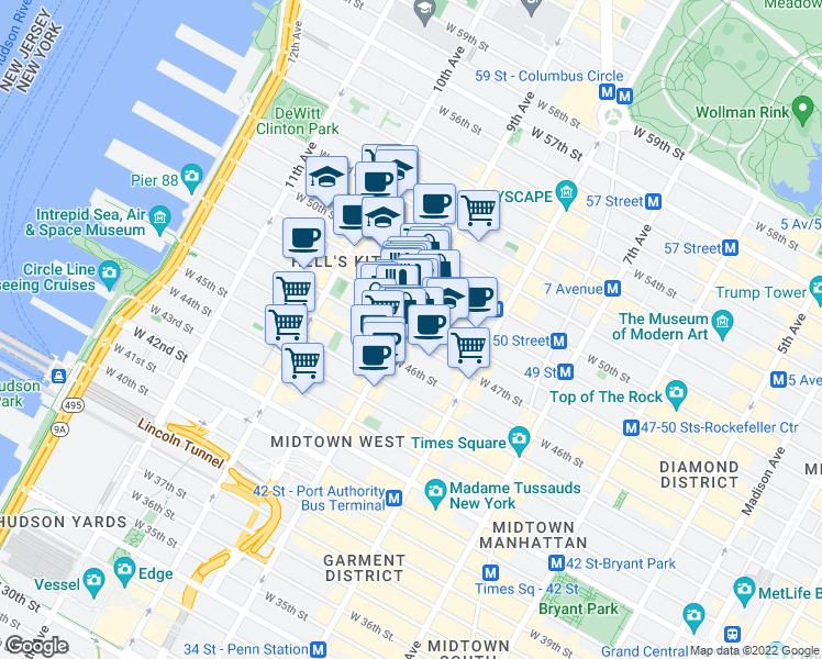 map of restaurants, bars, coffee shops, grocery stores, and more near 406 West 48th Street in New York