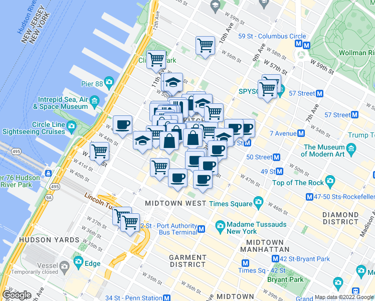 map of restaurants, bars, coffee shops, grocery stores, and more near 447 West 47th Street in New York