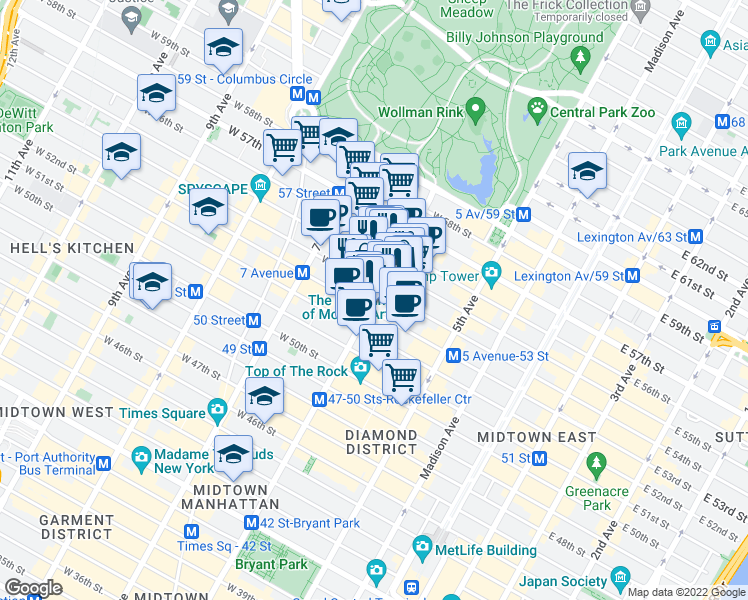 map of restaurants, bars, coffee shops, grocery stores, and more near 1320 Avenue of the Americas in New York