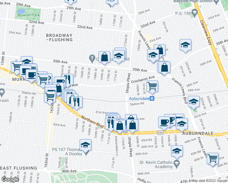 map of restaurants, bars, coffee shops, grocery stores, and more near 171st Street in Queens