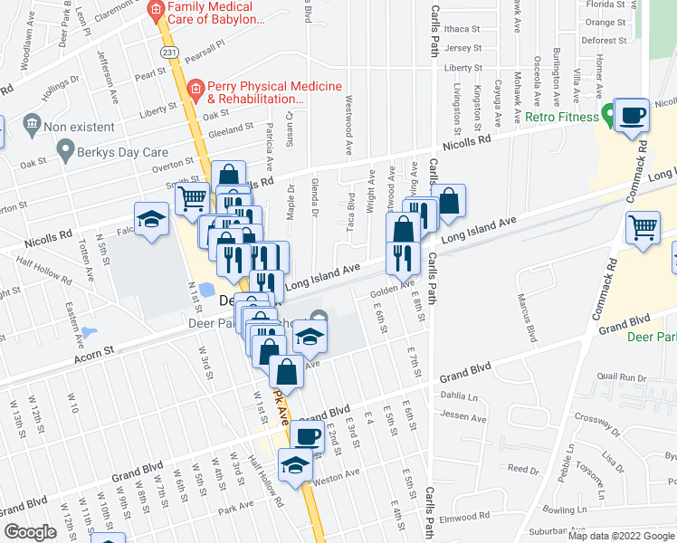 map of restaurants, bars, coffee shops, grocery stores, and more near 1-19 E 5th St in Deer Park