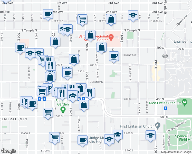 map of restaurants, bars, coffee shops, grocery stores, and more near 258 Iowa St in Salt Lake City