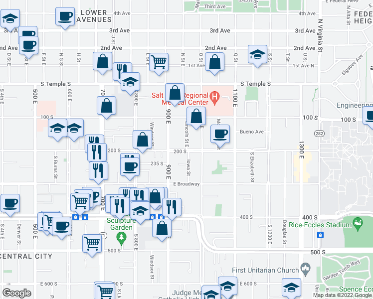 map of restaurants, bars, coffee shops, grocery stores, and more near E 200 S & Lincoln St in Salt Lake City