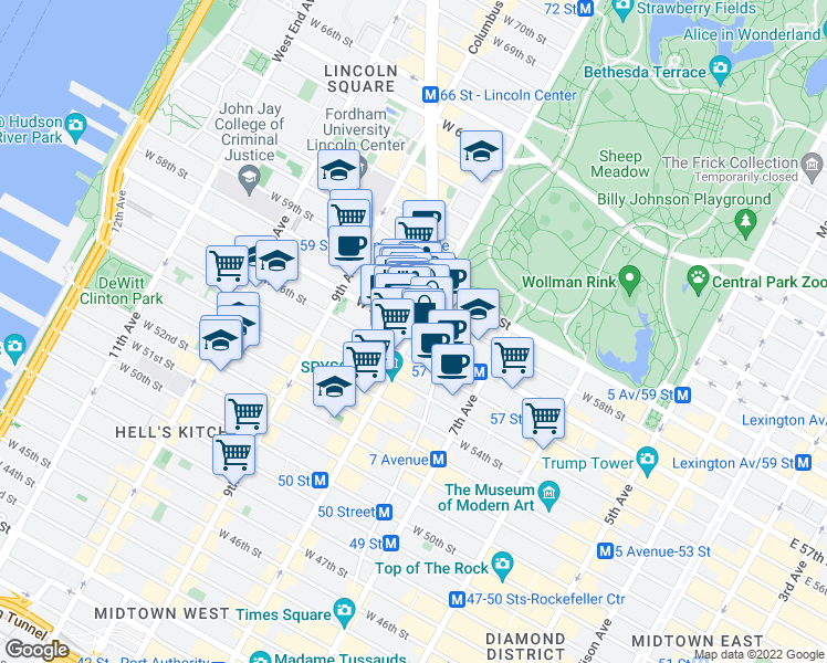 map of restaurants, bars, coffee shops, grocery stores, and more near 8th Avenue & West 57th Street in New York