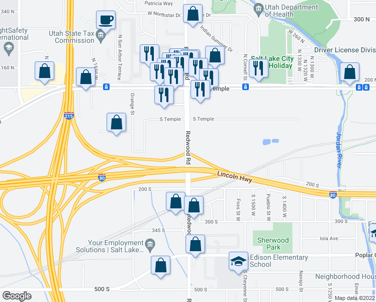 map of restaurants, bars, coffee shops, grocery stores, and more near 101-157 Redwood Road in Salt Lake City
