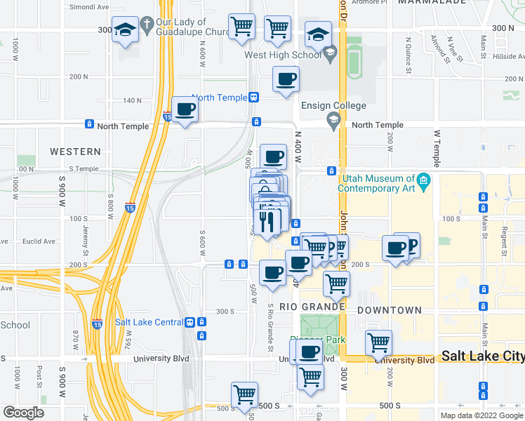 map of restaurants, bars, coffee shops, grocery stores, and more near 469-483 W 100 S in Salt Lake City