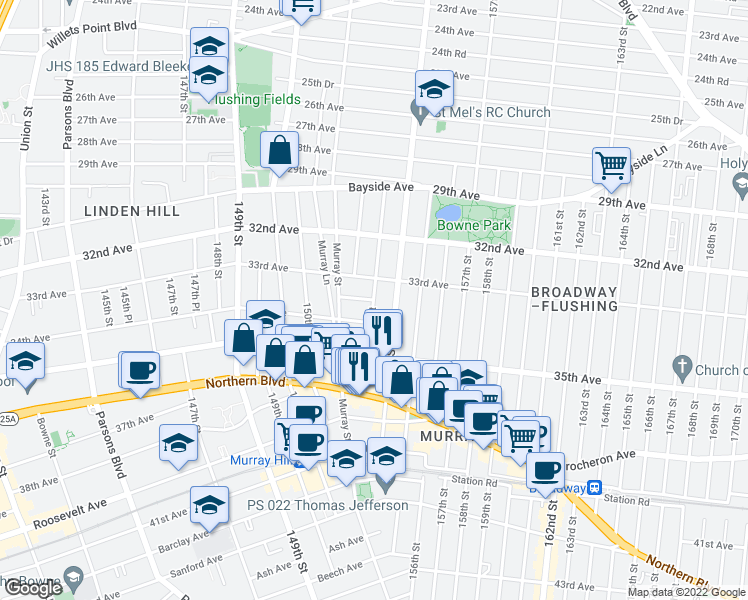 map of restaurants, bars, coffee shops, grocery stores, and more near 153rd St & 33rd Rd in Queens
