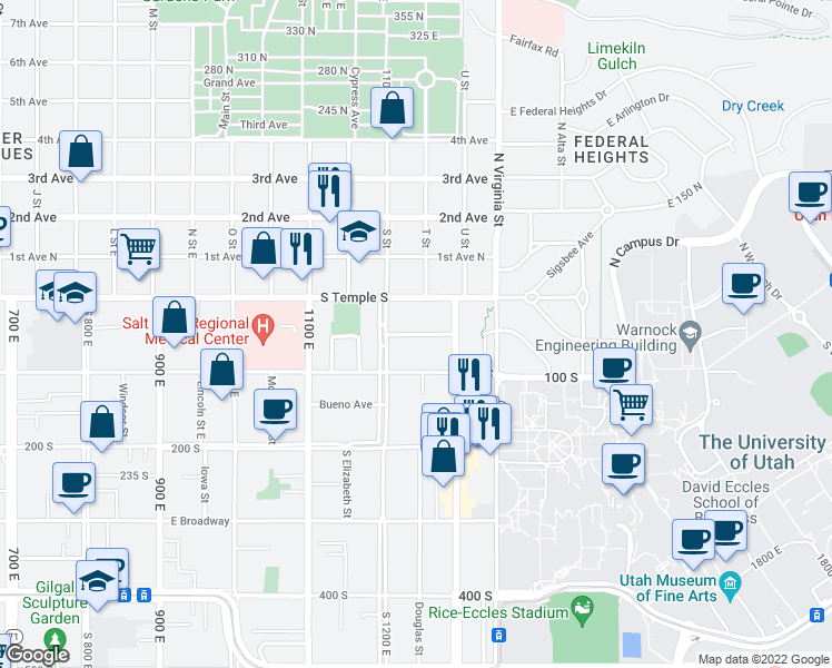 map of restaurants, bars, coffee shops, grocery stores, and more near 1243 Alameda Avenue in Salt Lake City
