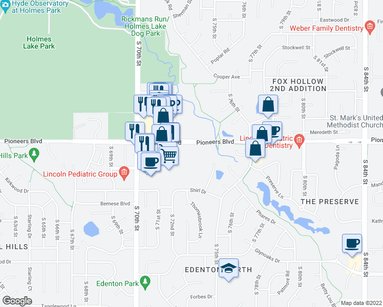 map of restaurants, bars, coffee shops, grocery stores, and more near 7301 Pioneers Blvd in Lincoln