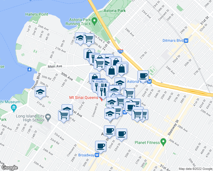 map of restaurants, bars, coffee shops, grocery stores, and more near 28th Avenue in Queens