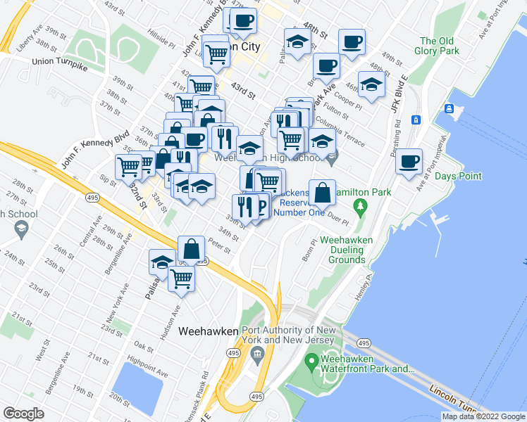 map of restaurants, bars, coffee shops, grocery stores, and more near 3522 Park Avenue in Weehawken