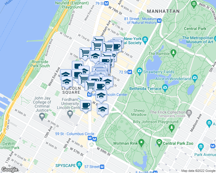 map of restaurants, bars, coffee shops, grocery stores, and more near 60 West 68th Street in New York