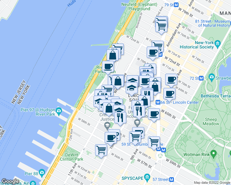 map of restaurants, bars, coffee shops, grocery stores, and more near 244 West 64th Street in New York