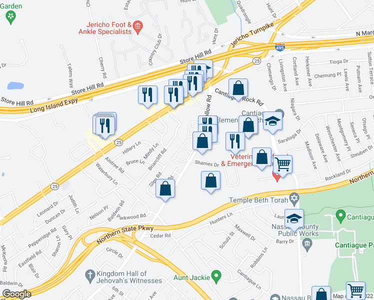 map of restaurants, bars, coffee shops, grocery stores, and more near 5500-5564 Brush Hollow Rd in Westbury