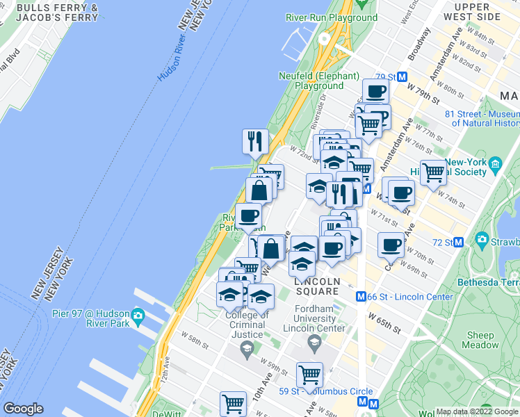 map of restaurants, bars, coffee shops, grocery stores, and more near West 67th Street in New York
