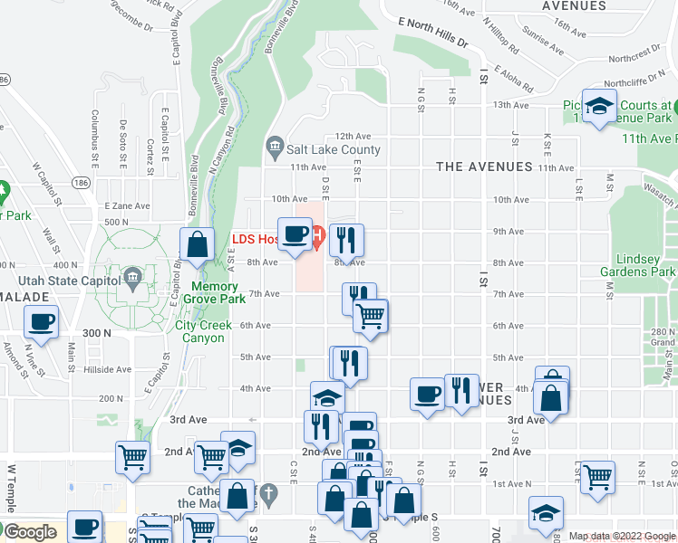map of restaurants, bars, coffee shops, grocery stores, and more near 376 8th Avenue in Salt Lake City