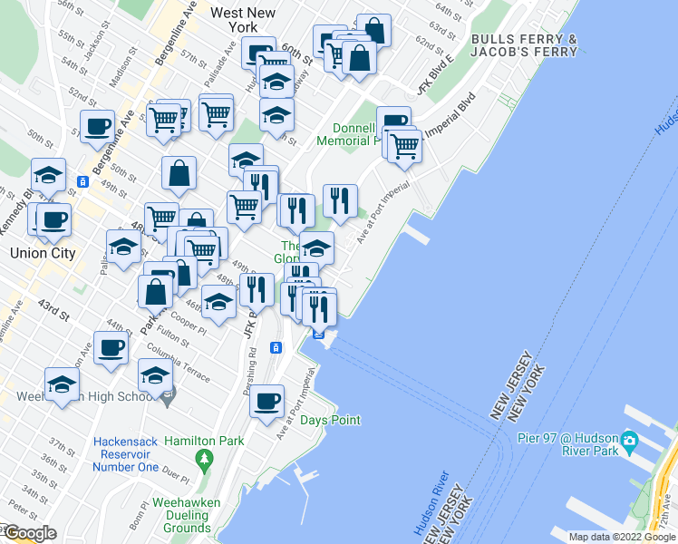 map of restaurants, bars, coffee shops, grocery stores, and more near 30 Avenue At Port Imperial in West New York