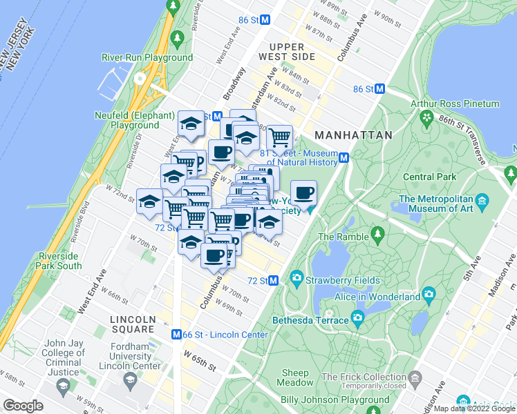 map of restaurants, bars, coffee shops, grocery stores, and more near 101 West 75th Street in New York