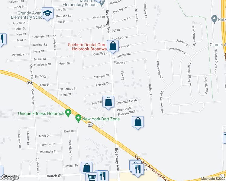 map of restaurants, bars, coffee shops, grocery stores, and more near Moonlight Walk in Holbrook