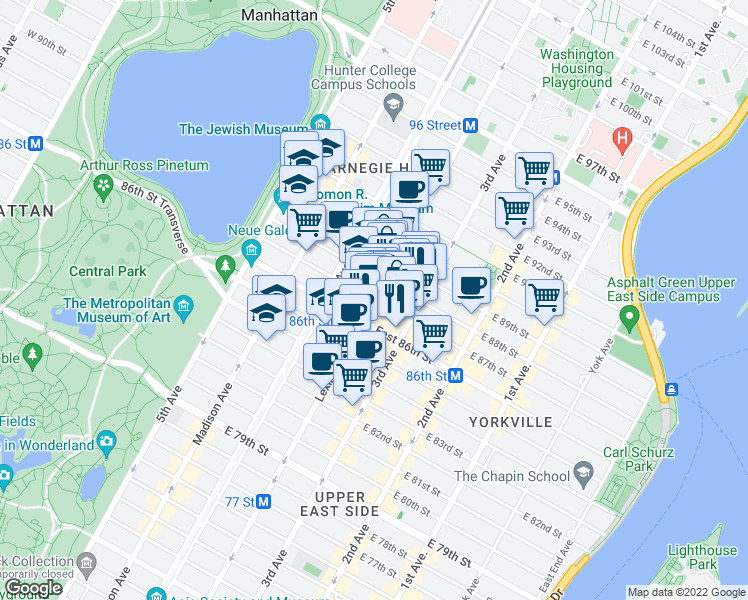 map of restaurants, bars, coffee shops, grocery stores, and more near Lexington Avenue & East 87th Street in New York