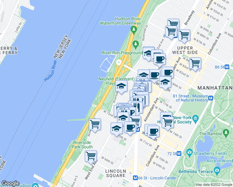 map of restaurants, bars, coffee shops, grocery stores, and more near 22 Riverside Drive in New York
