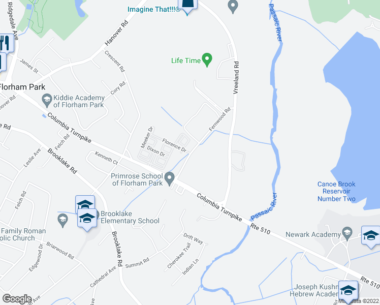 map of restaurants, bars, coffee shops, grocery stores, and more near 1-3 Florence Drive in Florham Park