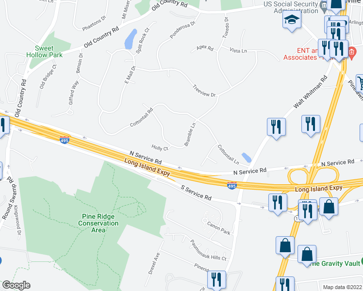 map of restaurants, bars, coffee shops, grocery stores, and more near in Melville
